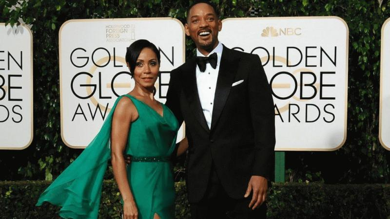 Will Smith and Jada Pinkett Smith at the Golden Globe Awards held recently.