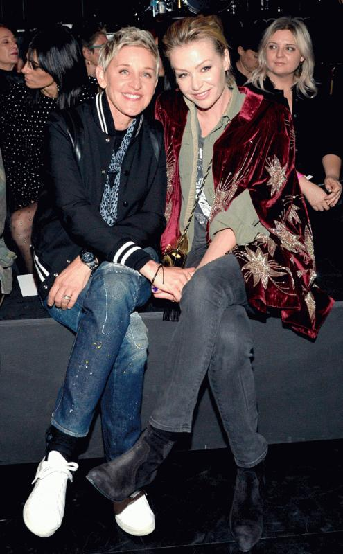 Portia De Rossie and Ellen DeGeneres at the 2016 Saint Laurent event.