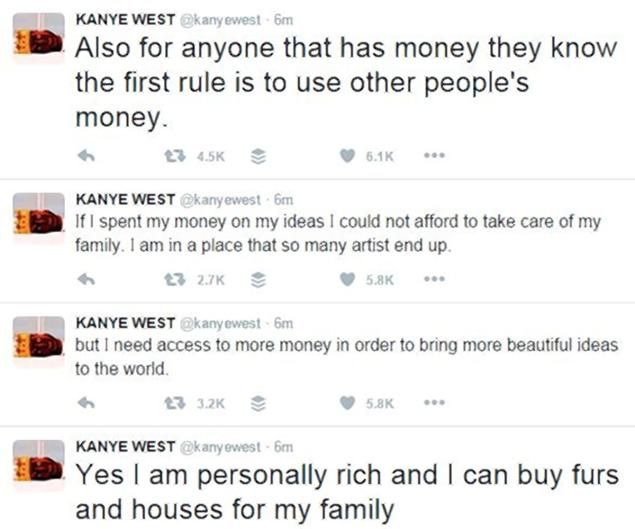 A screen shot showing Kanye West's latest rant on Twitter.