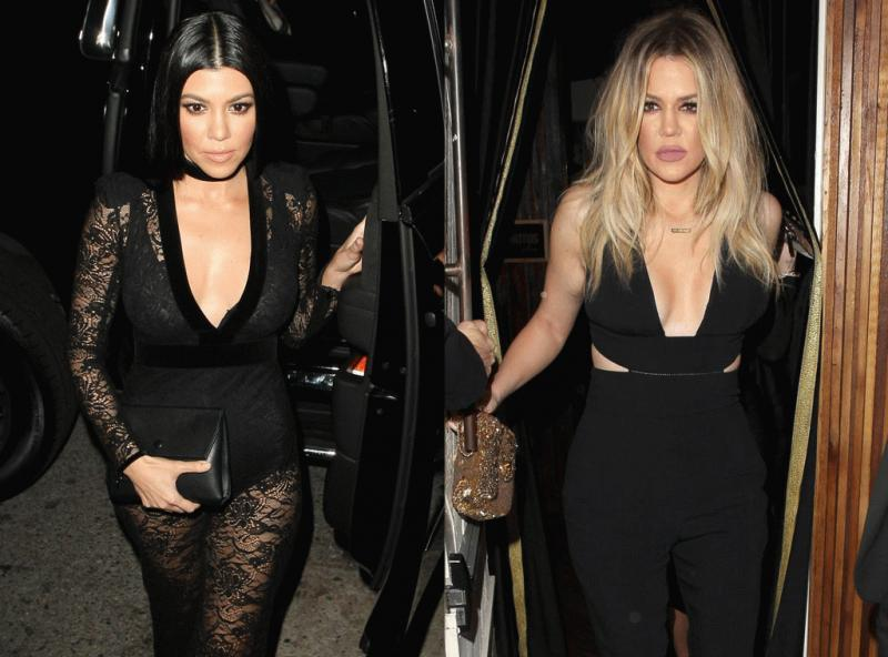 Kourtney and Khloe Kardashian photographed separately while arriving at Justin Bieber's after party for the Grammy Awards.