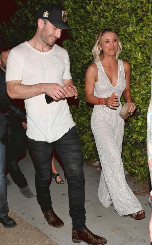 A photo showing Sam Hunt and Kaley Cuoco emerging from the Hyde night club after the 2016 Grammy Awards.