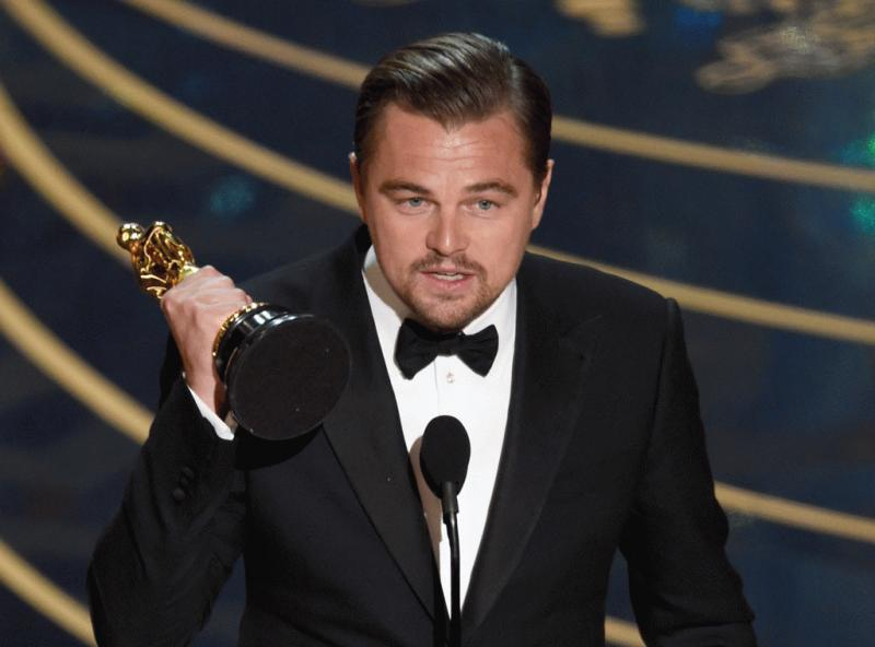 Leonardo DiCaprio photographed giving his speech after winning his first ever Oscars.