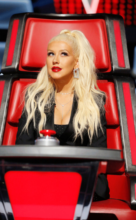"""Christina Aguilera during one of her apperances on """"The Voice."""""""