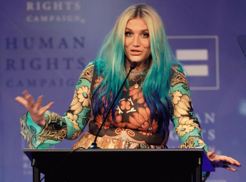 Kesha giving her acceptance speech at the 21st annual Human Rights Campaign Nashville Equality Dinner at the Renaissance Hotel on Saturday, March 5.