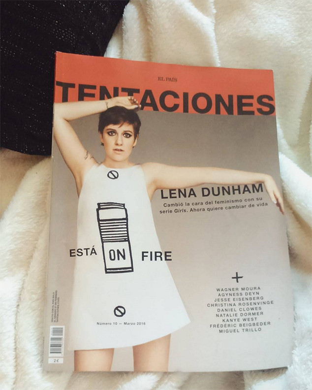A photo showing the cover for Tentaciones' March issue wherein Lena Dunham is featured.