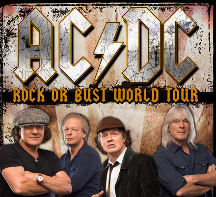 A promo poster for AC/DC's Rock or Bust World Tour.