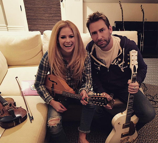 Chad Kroeger and Avril Lavigne reunite at the music studio.
