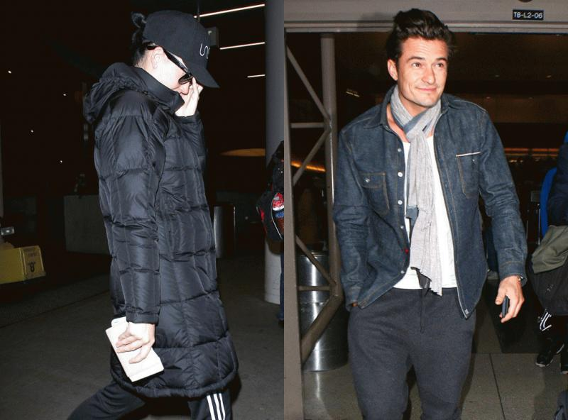 Katy Perry and Orlando Bloom photographed separately as they arrived at the Los Angeles International Airport over the weekend after they spent time with his family in London last week.
