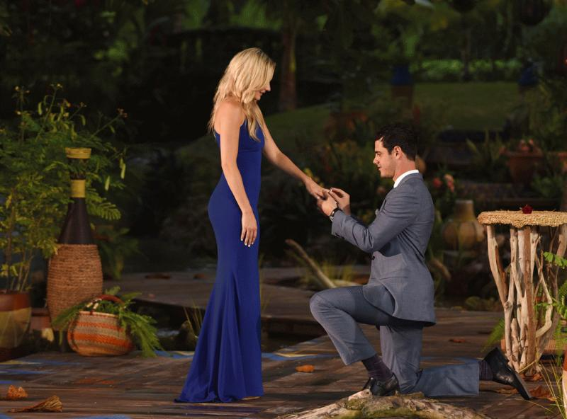 """A photo showing Ben Higgins proposing to Lauren Bushnell during the finale of """"The Bachelor"""" Season 20."""