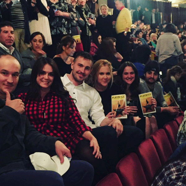 "Amy Schumer with her boyfriend Ben Hanisch and a couple of their friends photographed as The Public Theater as they watched ""Hamilton"" over the weekend."
