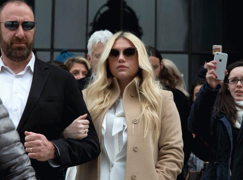 Kesha seen leaving court in February after she was denied the injunction.