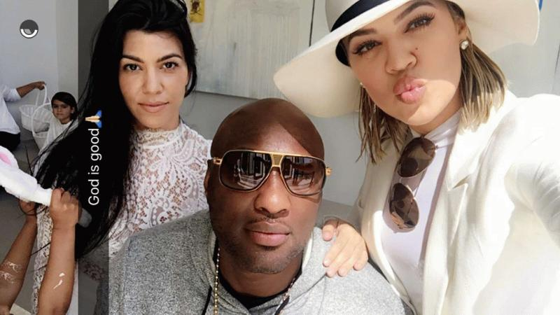 Khloe Kardashian with Lamar Odom and sister Kourtney Kardashian as seen in a photo posted on Snapchat.