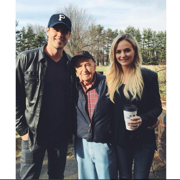 Lauren Bushnell with fiance Ben Higgins and his grandfather in Indiana.
