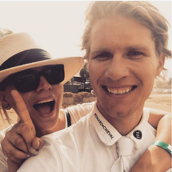 Kaley Cuoco shares this photo with Karl Cook, a professional horseback rider.