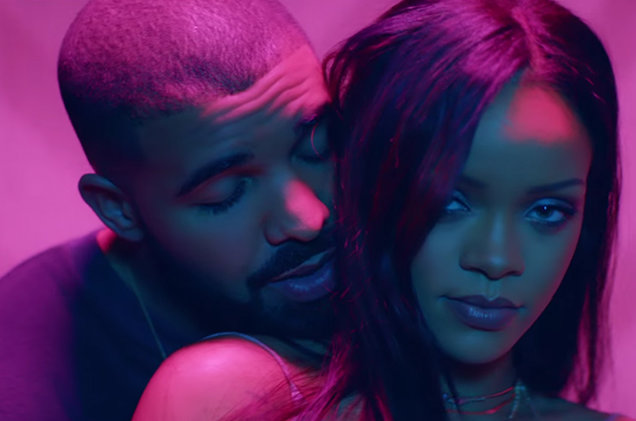 """Drake and Rihanna in a still from their """"Work"""" music video."""