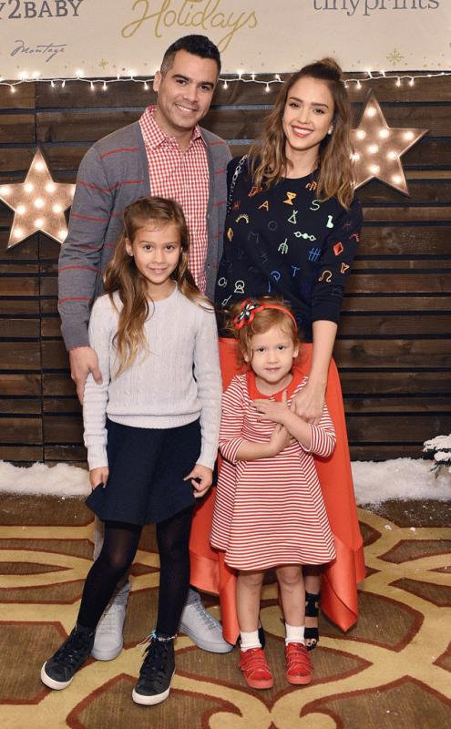 Jessica Alba with her husband and two daughters in an undated photo.