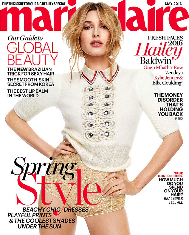 Hailey Baldwin for Marie Claire magazine's May issue.