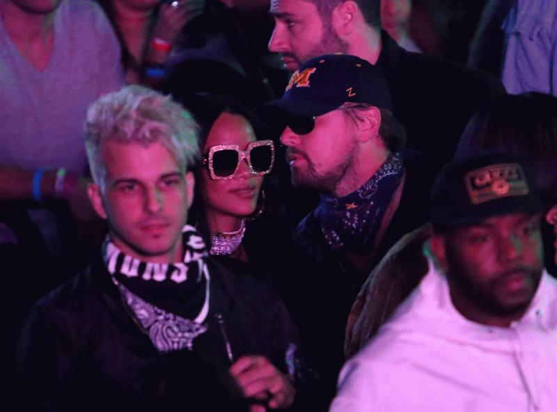Leonardo DiCaprio and Rihanna spotted at Coachella Music Festival 2016.