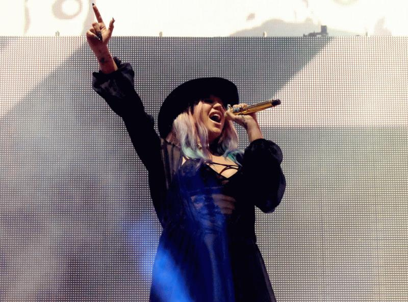 "Kesha at Coachella 2016 as she performed on stage DJ Zedd's single ""True Colors."""