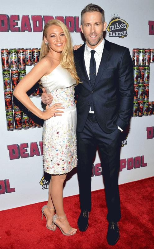"Blake Lively and Ryan Reynolds during the premiere of ""Deadpool."""