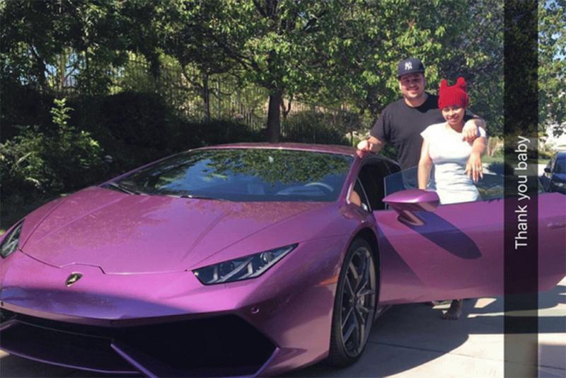 A photo showing the new Lamborghini of Blac Chyna reportedly given to her by her fiance Rob Kardashian.
