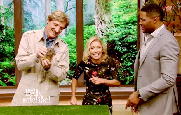 "Kelly Ripa and Michael Strahan with their guest Peter Gros during the Thursday episode of ""Live! With Kelly and Michael."""