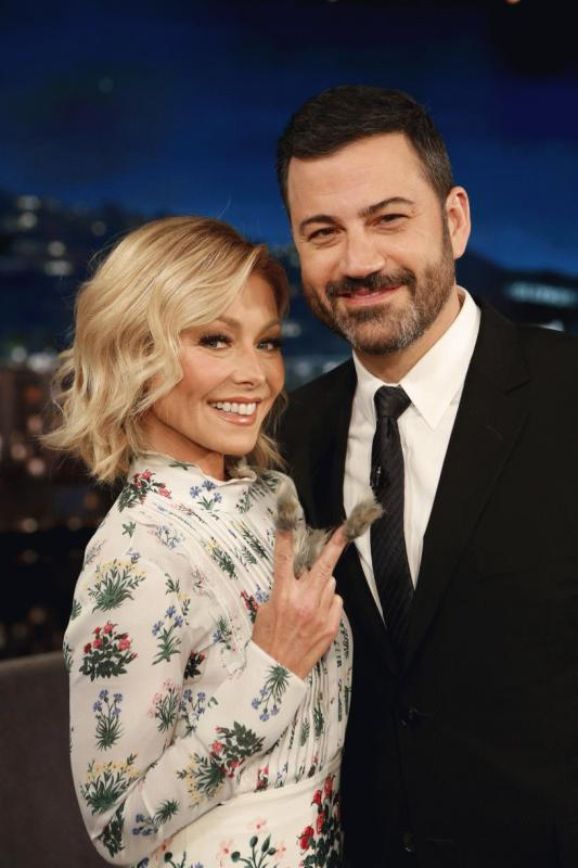 Kelly Ripa in a photo with Jimmy Kimmel when she was a guest at the latter's late night show.