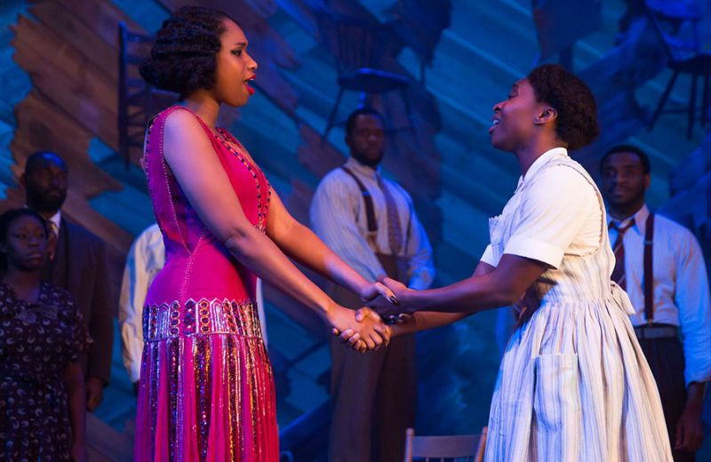 "Jennifer Hudson with Cynthia Erivo in a scene for ""The Color of Purple."""