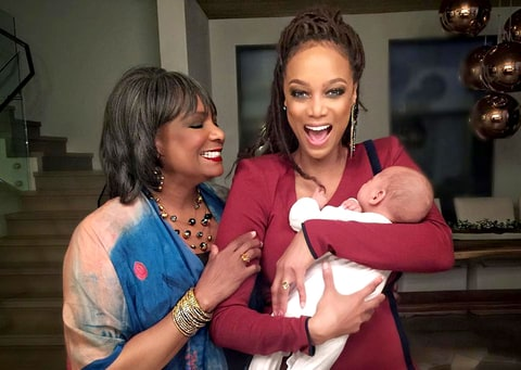 Tyra Banks with her mother and baby York as they celebrate Mother's Day 2016.