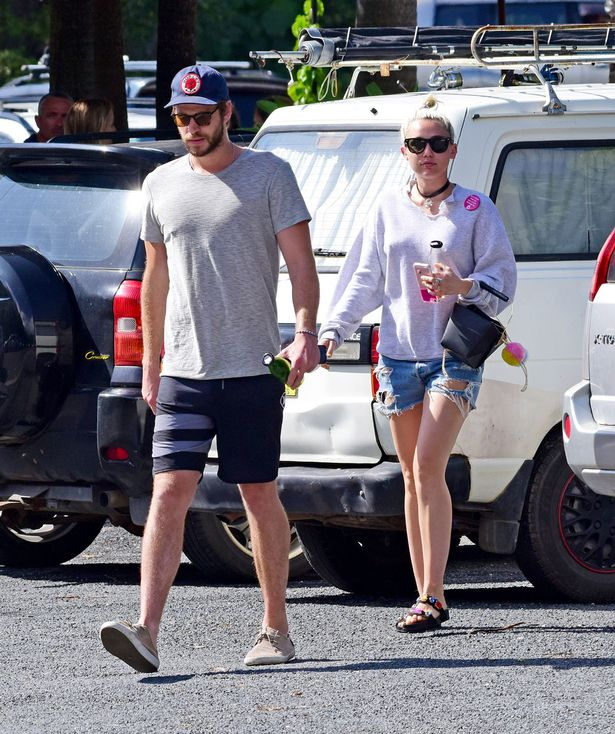 Miley Cyrus and Liam Hemsworth spotted in Byron Bay, Australia.