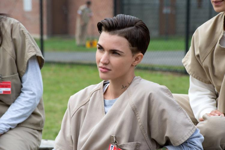 "Actress and DJ Ruby Rose in a scene from one of the episodes of the Netflix original series ""Orange Is The New Black."""