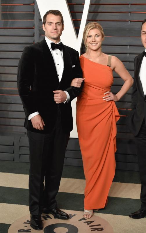 Henry Cavill and Tara King photographed at the Vanity Fair Oscar Party in February.