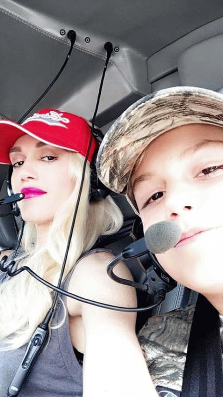 Gwen Stefani and her son Kingston Rossdale, 10, while at a helicopter ride on their way to a concert that Blake Shelton was headlining over the weekend.