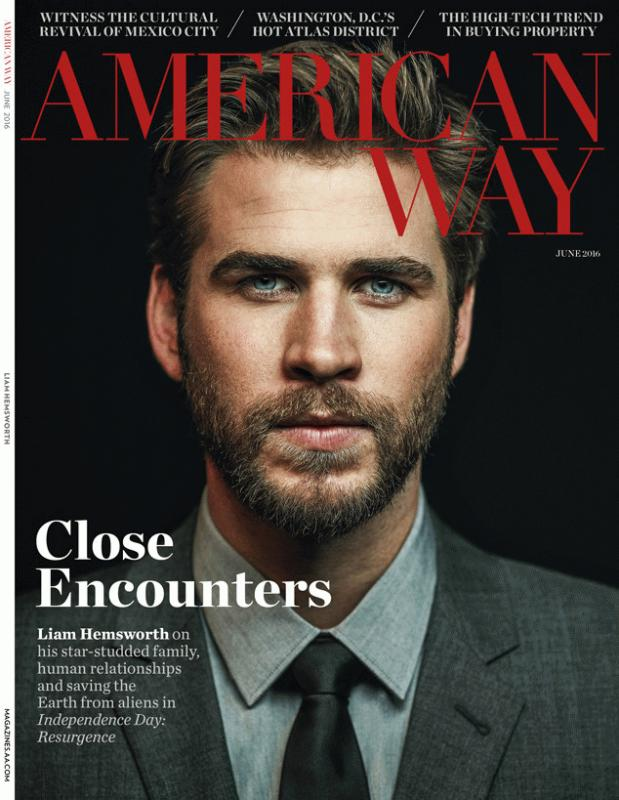 Liam Hemsworth for the latest issue of American Way magazine.