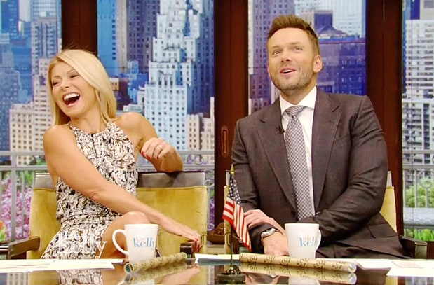 "Kelly Ripa with Joel McHale in the Tuesday episode of ""Live!"""