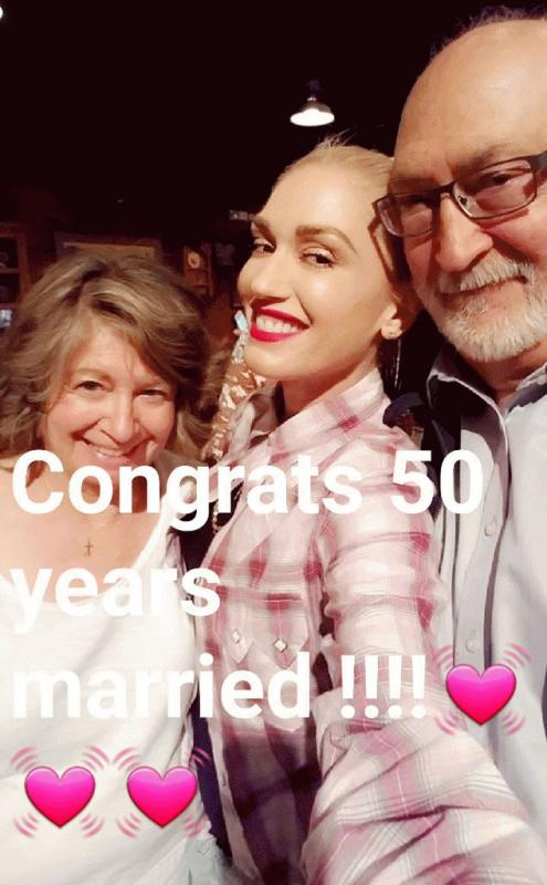 Gwen Stefani with her parents during their 50th anniversary celebration over the weekend.