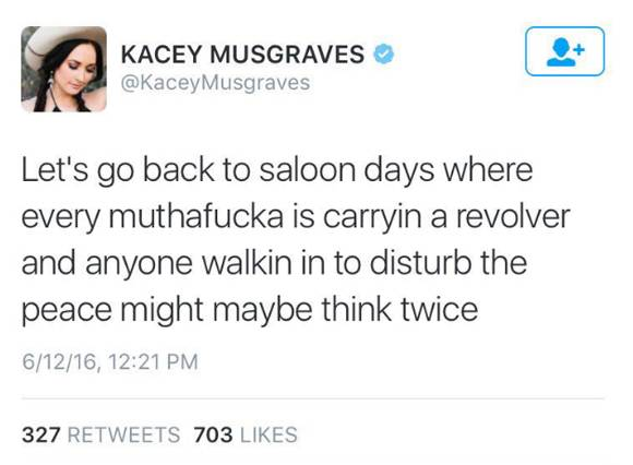A photo showing Kacey Musgraves' tweet about the Orlando mass shooting.