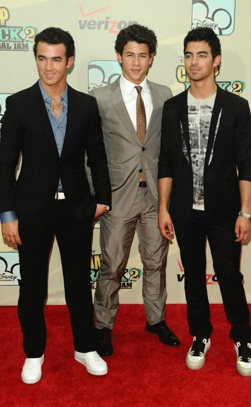 An undated photo showing Nick, Joe, and Kevin Jonas during their days as part of the Jonas Brothers band.