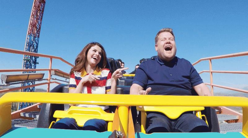 "Selena Gomez and James Corden at a roller coaster ride during ""Carpool Karaoke."""