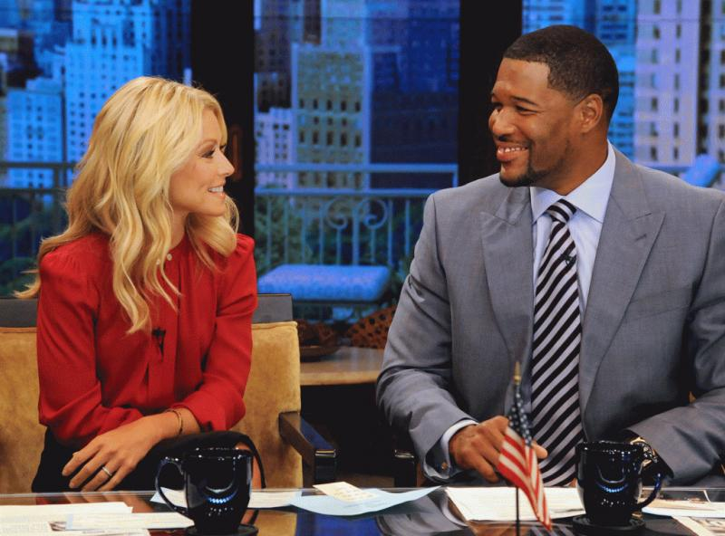 "Michael Strahan with Kelly Ripa on ""Live! With Kelly and Michael"" in the past."