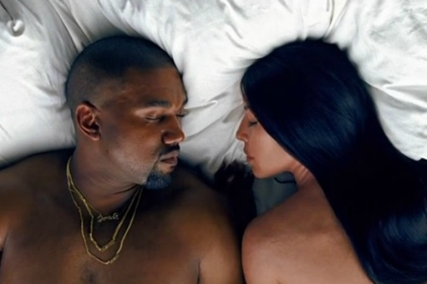 "Kanye West and Kim Kardashian featured in the ""Famous"" music video."
