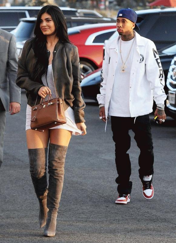 "Kylie Jenner and Tyga spotted together on their way to the premiere of Kanye West's ""Famous"" music video."