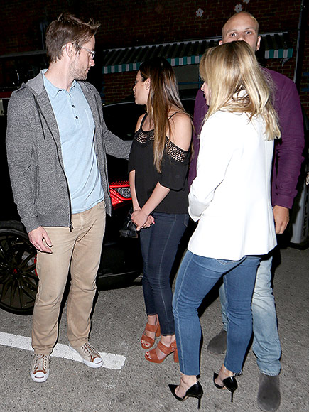 Lea Michele with Robert Buckley and a couple of friends taken weeks ago.