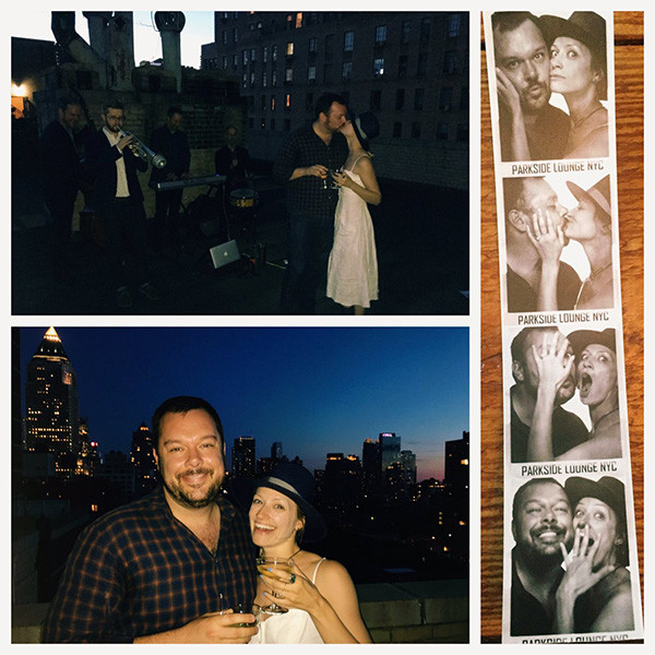 A photo collage showing Beth Behrs and fiance Michael Gladis during their engagement party.