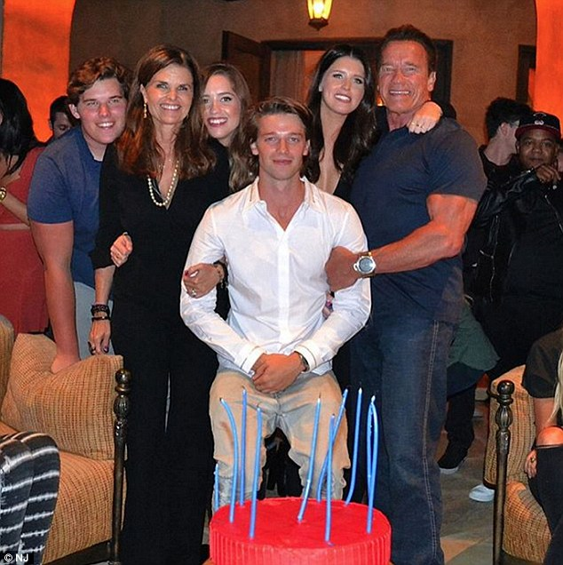 An undated photo showing Arnold Schwarzenegger and Maria Shriver with their four children.