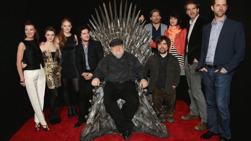 "An undated photo showing some of the cast of ""Game of Thrones"" and George R.R. Martin."