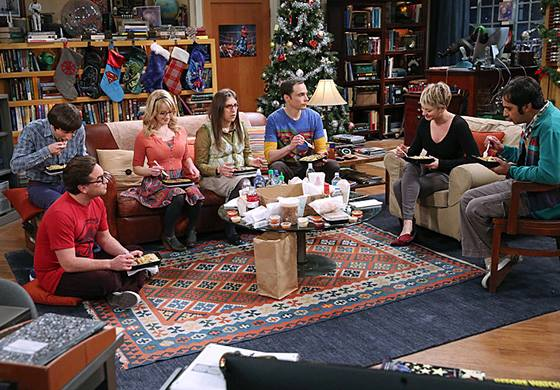 """A photo showing the main cast of """"The Big Bang Theory"""" in a still from one of the episodes of the show."""
