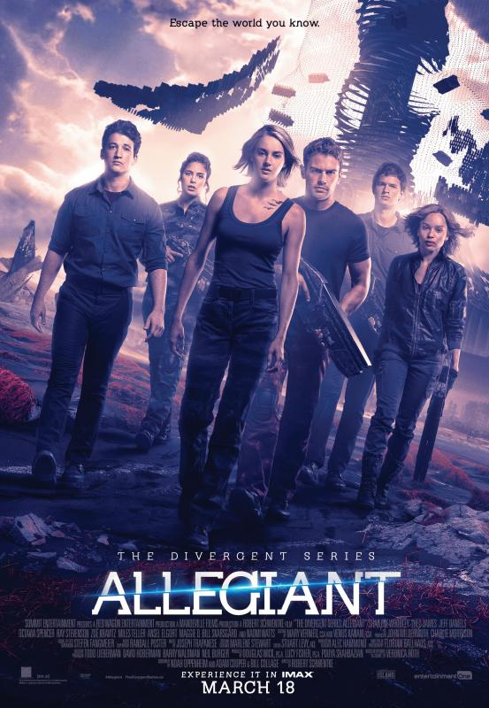 "A promo photo for ""Allegiant"" showing Shailene Woodley, Theo James and the other casts of the movie."