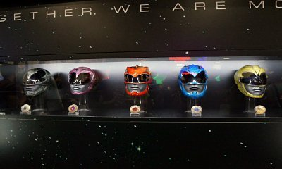 "A photo showing the new helmets and Power Coins to be used in the new ""Power Rangers"" movie."
