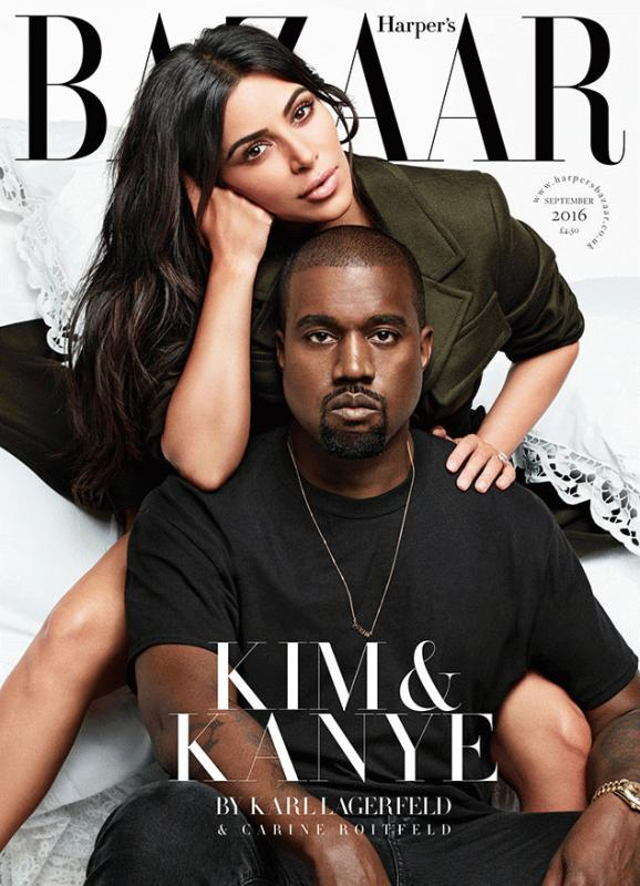 Kim Kardashian and Kanye West for the latest issue of Harper's Bazaar.
